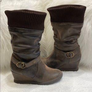 Roxy Presley Suede Slouchy Wedge Heel Boots SZ 9